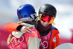 February 19, 2018 - Pyeongchang, SOUTH KOREA - 180219 Silje Norendal of Norway hugs Anna Gasser of Austria after the Women's Big Air Qualification during day ten of the 2018 Winter Olympics on February 19, 2018 in Pyeongchang..Photo: Carl Sandin / BILDBYRN / kod CS / 57999_306 (Credit Image: © Carl Sandin/Bildbyran via ZUMA Press)