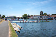 "Henley on Thames, United Kingdom, 2nd July 2018, Monday,   ""Henley Royal Regatta"",  view, Practice day, at Henle, ""in preparation"",  for the start of the ""Annual Royal Regatta"" on Wednesday 4th July, Henley Reach, River Thames, Thames Valley, England, © Peter SPURRIER,"