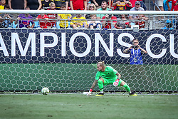 July 22, 2018 - Charlotte, North Carolina, USA - Liverpool goalkeeper Loris Karius (1) watches a goal by Borussia Dortmund midfielder Christian Pulisic (22) during an International Champions Cup match at Bank of America Stadium in Charlotte, NC.  Borussia Dortmund of the German Bundesliga beat Liverpool of the English Premier League 3 to 1. (Credit Image: © Jason Walle via ZUMA Wire)