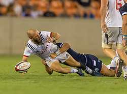 June 16, 2018 - Houston, Texas, US - USA Men's Rugby Team scrum half Shaun Davies (9) during the Emirates Summer Series 2018 match between USA Men's Team vs Scotland Men's Team at BBVA Compass Stadium, Houston, Texas (Credit Image: © Maria Lysaker via ZUMA Wire)