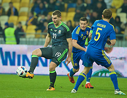KIEV, UKRAINE - Easter Monday, March 28, 2016: Wales' Sam Vokes in action against Ukraine during the International Friendly match at the NSK Olimpiyskyi Stadium. (Pic by David Rawcliffe/Propaganda)