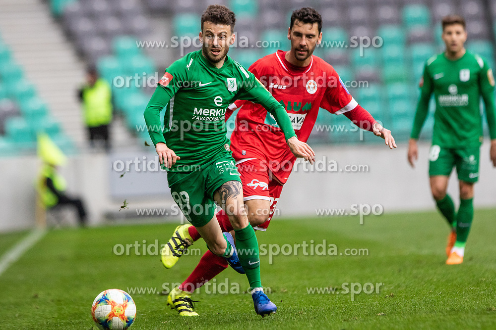 Suljic Asmir of NK Olimpija Ljubljana vs Hrovat Mario Lucas of NK Aluminij during football match between NK Olimpija Ljubljana and NK Aluminij in Round #27 of Prva liga Telekom Slovenije 2018/19, on April 14th, 2019 in Stadium Stozice, Slovenia Photo by Matic Ritonja / Sportida