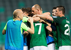 Players of NK Olimpija celebrate after Kronaveter scored second goal for Olimpija during football match between NK Aluminij and NK Olimpija Ljubljana in the Final of Slovenian Football Cup 2017/18, on May 30, 2018 in SRC Stozice, Ljubljana, Slovenia. Photo by Vid Ponikvar / Sportida