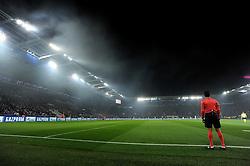 flare smoke hangs in the air inside the King power stadium. - Mandatory by-line: Alex James/JMP - 18/10/2016 - FOOTBALL - King Power Stadium - Leicester, England - Leicester City v FC Copenhagen - UEFA Champions League