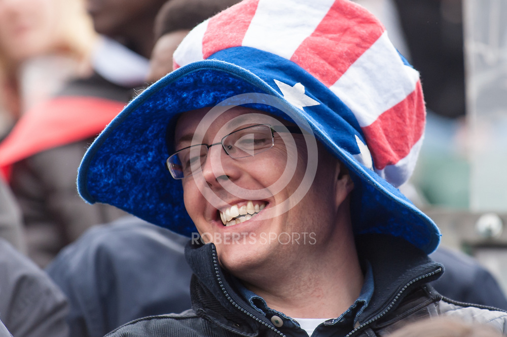 Fan in a USA hat. Action from the IRB Emirates Airline Glasgow 7s at Scotstoun in Glasgow. 3 May 2014. (c) Paul J Roberts / Sportpix.org.uk
