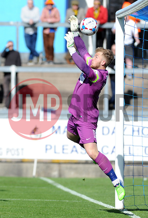 Southport's Tony Thompson lets in Bristol Rovers' Matty Taylor header as Bristol Rovers go 2-0 up - Photo mandatory by-line: Neil Brookman/JMP - Mobile: 07966 386802 - 11/04/2015 - SPORT - Football - Bristol - Memorial Stadium - Bristol Rovers v Southport - Vanarama Football Conference