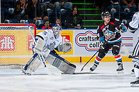 KELOWNA, CANADA - SEPTEMBER 28:  Coleman Vollrath #35 of the Victoria Royals defends the net  at the Kelowna Rockets on September 28, 2013 at Prospera Place in Kelowna, British Columbia, Canada (Photo by Marissa Baecker/Shoot the Breeze) *** Local Caption ***