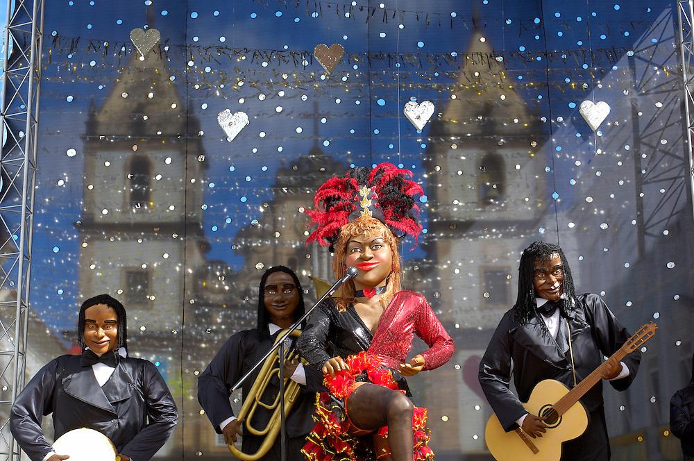 Carneval decoratons in front of Sao Francisco Church and Convent, Pelourinho, upper city, Salvador, Bahia, Brazi