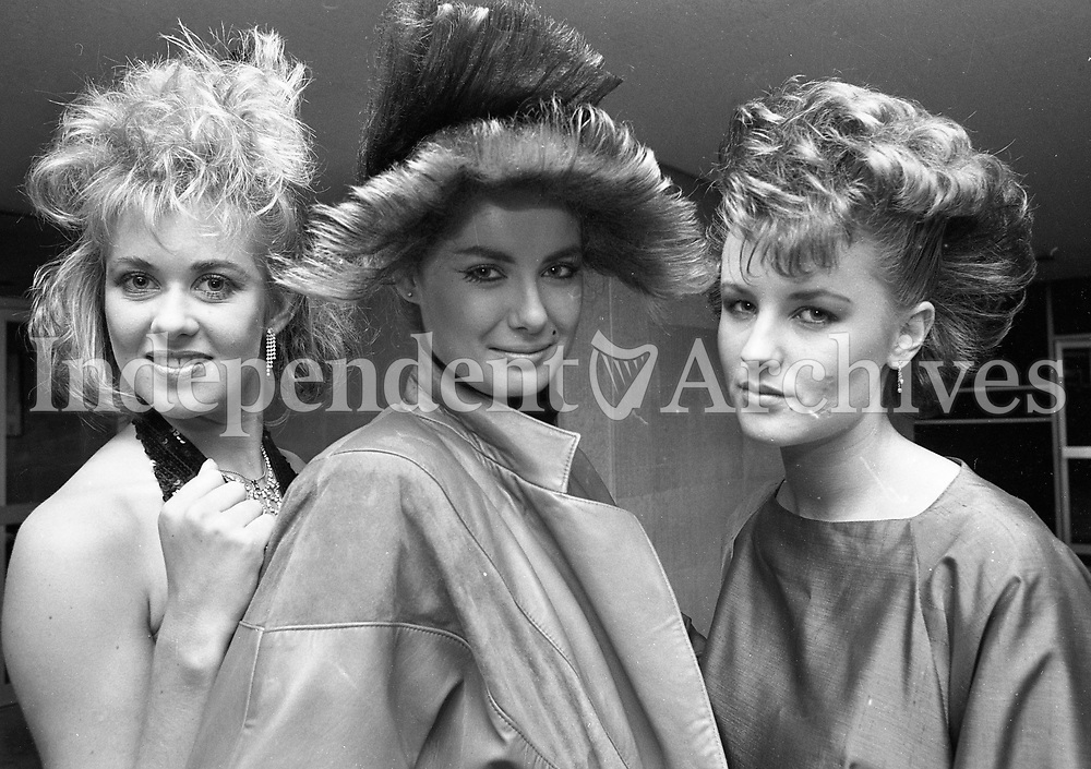 Minister for Labour Ruairi Quinn at the reception in the Irish Goods Council to launch a Hairdersser Training Video, with Karina Kiernan, Trish Nolan and Sandra Eglington, Modeling the Hairstyles, 30/10/1984 (Paer of the Independent Newspapers Ireland/NLI Collection).