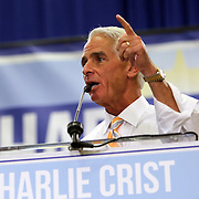 "Democrat Charlie Crist speaks as his  ""Commit to Vote"" rally at the Barnett Park Gymnasium in Orlando, Florida on Friday, Nov. 17, 2014. (AP Photo/Alex Menendez)"