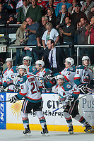 KELOWNA, CANADA - MAY 13: Kris Mallette, assistant coach of the Kelowna Rockets yells to the ice on May 13, 2015 during game 4 of the WHL final series at Prospera Place in Kelowna, British Columbia, Canada.  (Photo by Marissa Baecker/Shoot the Breeze)  *** Local Caption *** Kris Mallette;
