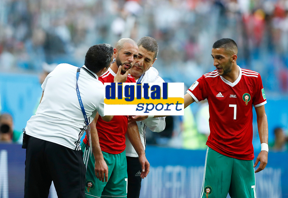 Noureddine Amrabat (Morocco) after a strong tackle<br /> Saint Petersburg 15-06-2018 Football FIFA World Cup Russia  2018 <br /> Morocco - Iran / Marocco - Iran <br /> Foto Matteo Ciambelli/Insidefoto