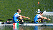Lucerne, SWITZERLAND.  Men's Double Scull Semi-Final, ITA M2X. Bow Alessio SARTORI and Ramano BATTISTI,  in the closing stages of the race. 2012 FISA Olympic Qualifying Regatta on the Rotsee Rowing Course,  Tuesday  22/05/2012  [Mandatory Credit Peter Spurrier/ Intersport Images]
