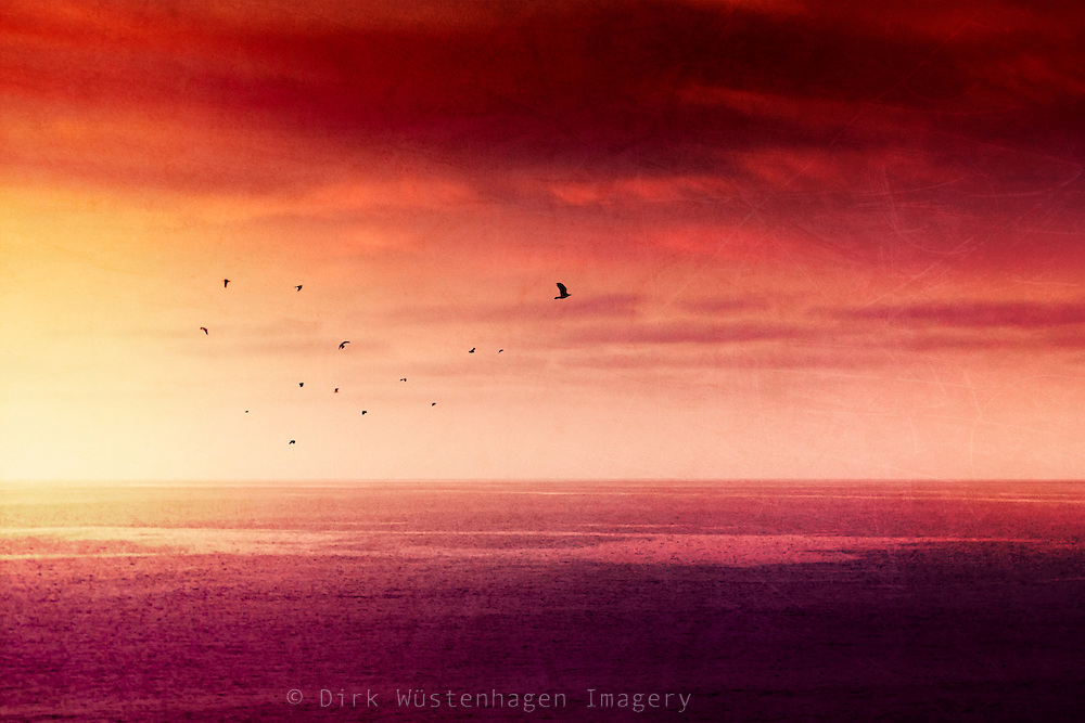 Atlantic Ocean at sunrise seen from La Palma, Canary Islands, texturized photograph<br /> Prints &amp; more: https://society6.com/product/red-sunset-over-the-atlantic_print#1=45