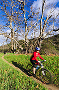 Mountain biking in Sycamore Canyon, Point Mugu State Park, California USA