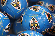 AFC Wimbledon footballs delivering Christmas presents to the children on behalf of AFC Wimbledon, at St George's Hospital, Tooting, United Kingdom on 13 December 2018.