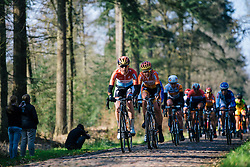 Chrisinte Majerus and Nikki Harris lead the way across the first cobbled section - Ronde van Drenthe 2016, a 138km road race starting and finishing in Hoogeveen, on March 12, 2016 in Drenthe, Netherlands.