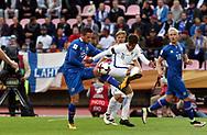 2.9.2017, Ratina Stadion, Tampere, Finland.<br /> FIFA World Cup 2018 Qualifying match, Finland v Iceland.<br /> Gylfi Sigurdsson (Iceland) v Perparim Hetemaj (Finland).