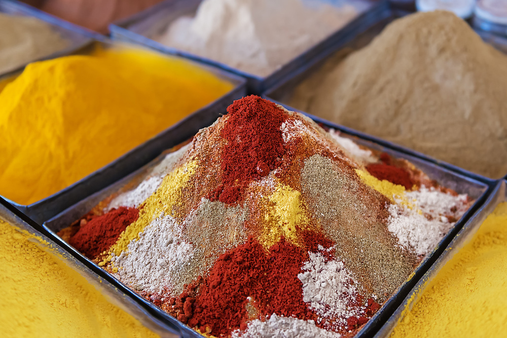Spices in the market of Rissani, Morocco.