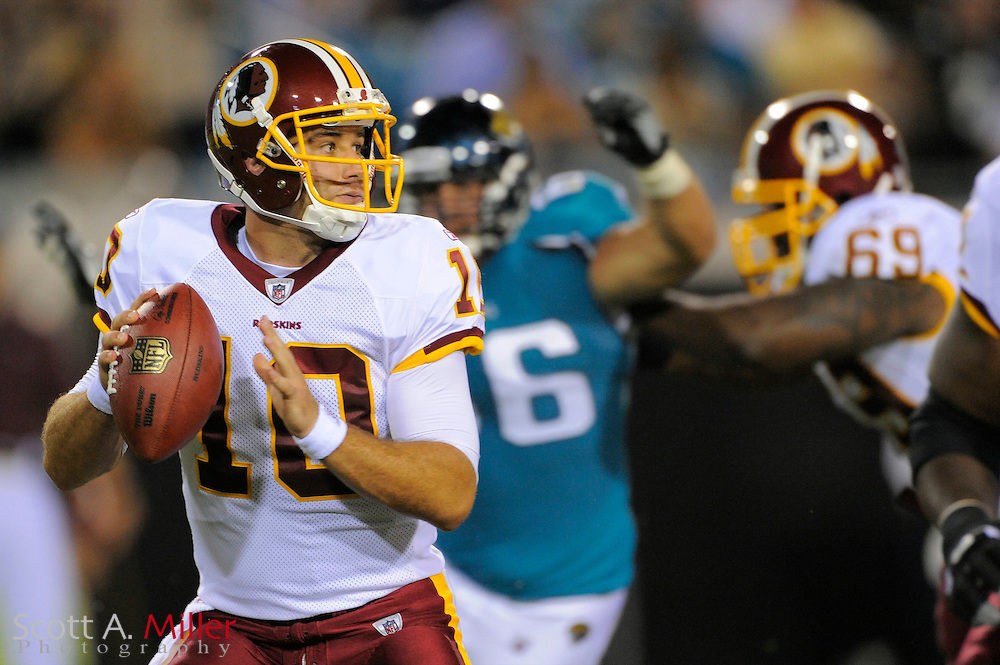 Jacksonville, FL; Sept 3, 2009: Washington Redskins quarterback Chase Daniel (10) during the Redskins game against the Jacksonville Jaguars at Jacksonville Municipal Stadium.