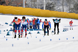 CHOI Bogue KOR B3 Guide: KIM Hyunwoo, SUIARKO Dmytro UKR B2 Guide: POTAPENKO Vasyl competing in the ParaSkiDeFond, Para Nordic 10km during the PyeongChang2018 Winter Paralympic Games, South Korea.