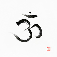 Sanscrit symbol Om or Aum, representing a sacred sound associated with the crown chakra in Yoga. A spiritual icon in Hinduism. Artistic oriental style illustration, Japanese Zen Sumi-e black ink painting on white rice paper background.