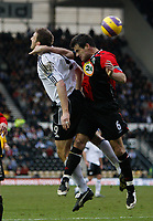 Photo: Steve Bond/Sportsbeat Images.<br />Derby County v Blackburn Rovers. The FA Barclays Premiership. 30/12/2007. Ryan Nelson (R) and Steve Howard (L) challange in the air