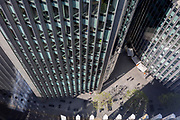 Looking down from an aerial angle, towards corporate offices in the City of London, the capital's ancient financial district, on 13th May, in London, England.