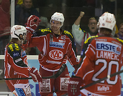 22.09.2013, Stadthalle, Klagenfurt, AUT, EBEL, EC KAC vs Graz 99, 9. Runde, im Bild der Torschütze zum 3:0 für den Kac Florian Iberer (Kac, #48), Tylor Scofield (Kac, #10), John Lammers (Kac, #20) // during the Erste Bank Icehockey League 9th Round match betweeen EC KAC and Graz 99 at the City Hall, Klagenfurt, Austria on 2013/09/22 . EXPA Pictures © 2013, PhotoCredit: EXPA/ Gert Steinthaler