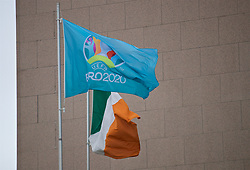DUBLIN, REPUBLIC OF IRELAND - Saturday, December 1, 2018: Euro 2020 and Eire flags fly on the eve of the draw for the UEFA Euro 2020 tournament at the Convention Centre Dublin. (Pic by David Rawcliffe/Propaganda)