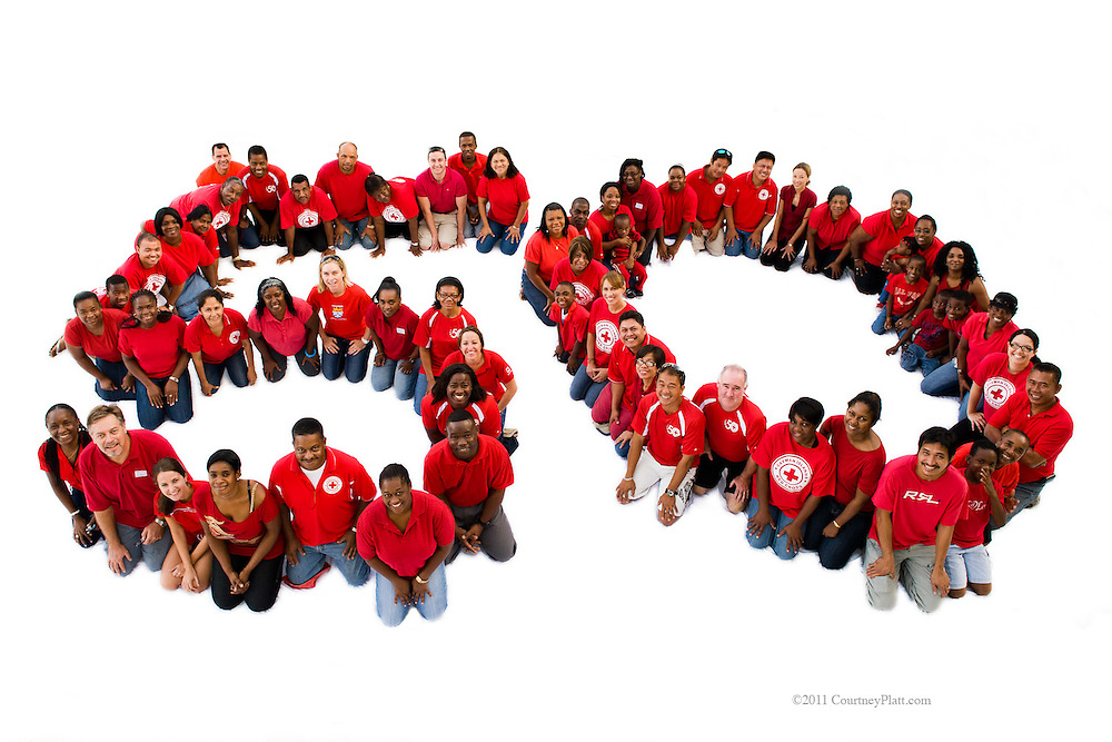 Charity image for the Cayman Islands Red Cross, special technique creates huge solid white background.