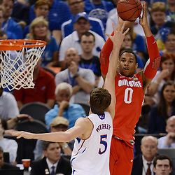 Mar 31, 2012; New Orleans, LA, USA; Ohio State Buckeyes forward Jared Sullinger (0) shoots over Kansas Jayhawks center Jeff Withey (5) during the first half in the semifinals of the 2012 NCAA men's basketball Final Four at the Mercedes-Benz Superdome. Mandatory Credit: Derick E. Hingle-US PRESSWIRE