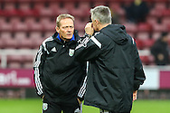 Keith Downing (left) and Rob Kelly (right), jointly in charge of West Bromwich Albion for the game against West Ham United, during the Barclays Premier League match at the Boleyn Ground, London<br /> Picture by David Horn/Focus Images Ltd +44 7545 970036<br /> 01/01/2015