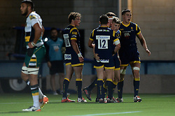 Alex Hearle (Shrewsbury Sixth Form College) of Worcester Cavaliers celebrates his try with team mates - Mandatory by-line: Dougie Allward/JMP - 19/09/2016 - RUGBY - Sixways Stadium - Worcester, England - Worcester Cavaliers v Northampton Wanderers - Aviva A League