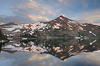Sunrise on South Sister and Middle Green Lake, Three Sisters Wilderness, Oregon