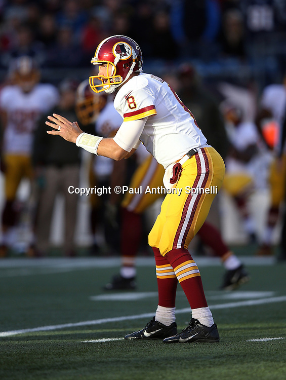 Washington Redskins quarterback Kirk Cousins (8) waits for the snap in the shotgun formation during the 2015 week 9 regular season NFL football game against the New England Patriots on Sunday, Nov. 8, 2015 in Foxborough, Mass. The Patriots won the game 27-10. (©Paul Anthony Spinelli)