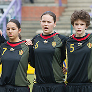 21120413 - HARELBEKE, BELGIUM : Sofie Huyghebaert (8), Lola Wajnblum (7),Valentine Hannecart (6),Tinne Van den Bergh (5), Febe Nulens (4) from Belgium are pictured here during the Second qualifying round of U17 Women Championship between Switzerland and Belgium on Friday April 13th, 2012 in Harelbeke, Belgium.
