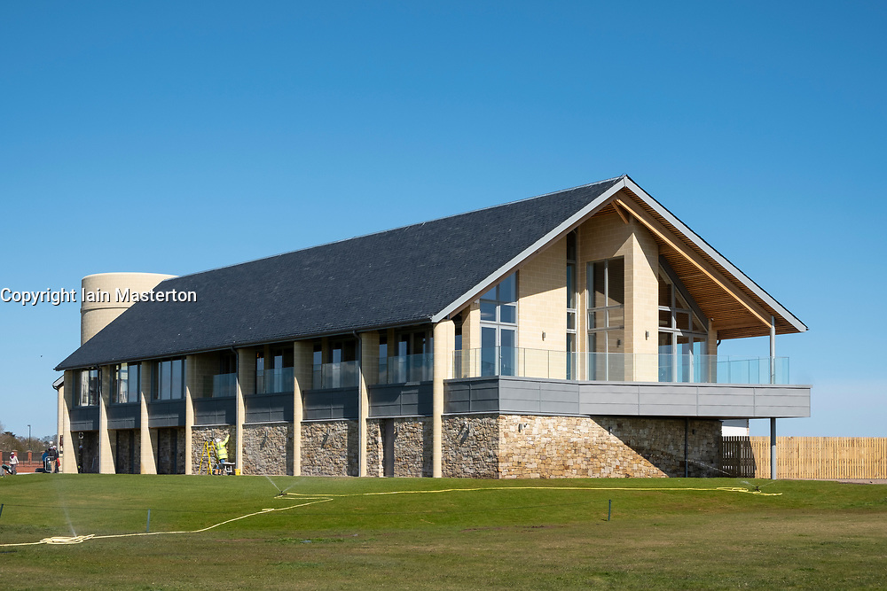 View of new club house (opened April 2018) at Carnoustie Golf Links in Carnoustie, Angus, Scotland, UK. Carnoustie is venue for the 147th Open Championship in 2018.