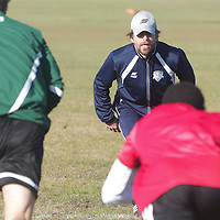 Mark Williams, Director of Sports Science watches trialists run drills Sunday February 8, 2015 during tryouts for the Wilmington Hammerheads F.C. (Jason A. Frizzelle)
