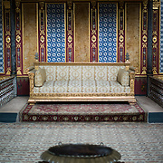 The Sultan's throne in the ornately decorated Imperial Throne Room in the Harem of Topkapi Palace. The Imperial Harem was the inner sanctum of the Topkapi Palace where the Sultan and his family lived. Standing on a peninsular overlooking the Bosphorus Strait and Golden Horn, Topkapi Palace was the primary residence of the Ottoman sultans for approximately 400 years (1465–1856) of their 624-year reign.