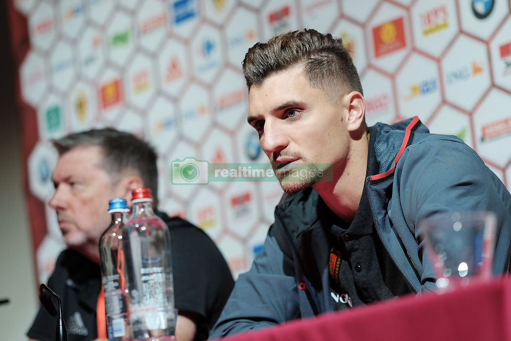 October 4, 2017 - Tubize, BELGIUM - Belgium's Thomas Meunier pictured during a press conference of Belgian national soccer team Red Devils, Wednesday 04 October 2017, in Tubize. The team is preparing for World Cup qualification games against Bosnia on Saturday, and Cyprus on Monday. BELGA PHOTO BRUNO FAHY (Credit Image: © Bruno Fahy/Belga via ZUMA Press)