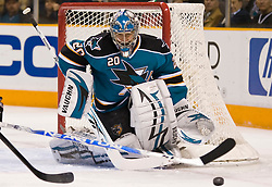 January 6, 2010; San Jose, CA, USA; San Jose Sharks goalie Evgeni Nabokov (20) during the first period against the St. Louis Blues at HP Pavilion. San Jose defeated St. Louis 2-1 in overtime. Mandatory Credit: Jason O. Watson / US PRESSWIRE