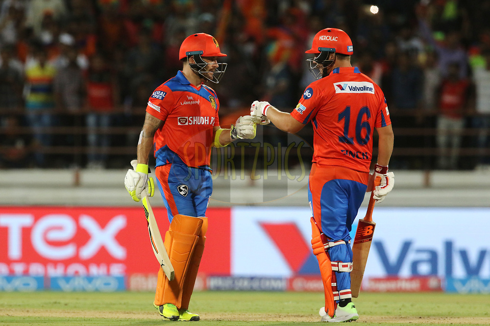 Brendon McCullum of the Gujarat Lions and Aaron Finch of the Gujarat Lions during match 20 of the Vivo 2017 Indian Premier League between the Gujarat Lions and the Royal Challengers Bangalore  held at the Saurashtra Cricket Association Stadium in Rajkot, India on the 18th April 2017<br /> <br /> Photo by Vipin Pawar - Sportzpics - IPL