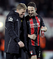Bournemouth Manager, Eddie Howe and Bournemouth's Marc Pugh share a smile - Photo mandatory by-line: Robbie Stephenson/JMP - Mobile: 07966 386802 - 03/03/2015 - SPORT - football - Bournemouth - Dean Court - Bournemouth v Wolverhampton Wanderers - Sky Bet Championship