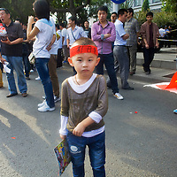 BEIJING, SEPTEMBER-16:  Anti-Japanese protesters demonstrate over the disputed Diaoyu Islands outside the Japanese Embassy  . Protests have taken place across China in a dispute that is becoming increasingly worrying for regional stability.