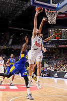 Real Madrid's Rudy Fernandez and Maccabi Fox's Quincy Miller during Turkish Airlines Euroleague match between Real Madrid and Maccabi at Wizink Center in Madrid, Spain. January 13, 2017. (ALTERPHOTOS/BorjaB.Hojas)