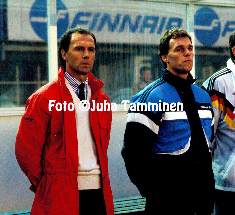31.8.1988, Olympiastadion / Olympic Stadium, Helsinki.<br /> FIFA World Cup Qualifying match Finland v West-Germany.<br /> Coach Franz Beckenbauer and assistant Holger Osieck of West Germany