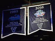 EDITORS PLEASE NOTE: BANNER WAS IN RAFTERS BEFORE GAME: The Villanova Wildcats 2016 NCCA Championship banner is unveiled from the rafters before tipoff against Indiana University of Pennsylvania Saturday, November 5, 2016 at the Wells Fargo Center in Philadelphia, Pennsylvania. (WILLIAM THOMAS CAIN / For The Philadelphia Inquirer)
