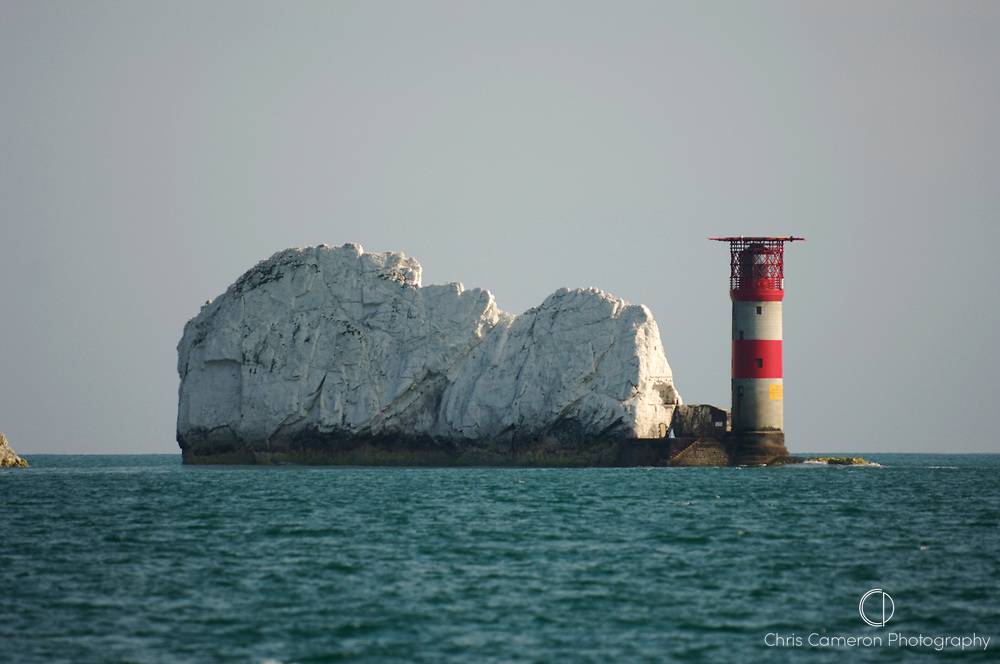 One of the Needles rocks and light house, Isle of Wight, England. 12/9/2005