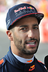 © Licensed to London News Pictures. 12/07/2017. London, UK.   Daniel Ricciardo meets the public ahead of taking part in a parade of Formula One cars around a circuit passing Trafalgar Square and Whitehall during a promotional event called F1LiveLondon ahead of the British Grand Prix at Silverstone.   Photo credit : Stephen Chung/LNP